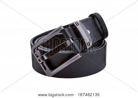 Rolled men's black leather belt with metal buckle isolated on white background