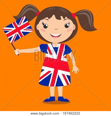 Smiling child, girl, holding a Great Britain flag isolated on orange background. Cartoon mascot. Holiday illustration to the Day of the country, Independence Day, Flag Day.