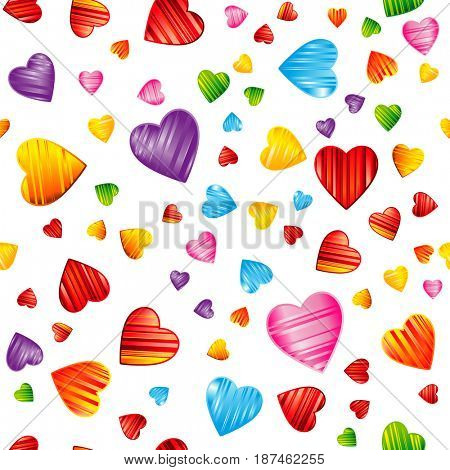 Colorful striped hearts pattern. Valentine's day, wedding, romantic seamless background, design illustration.