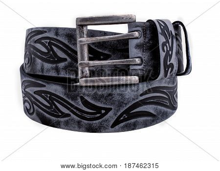 Rolled men's Unordinary leather belt with double metal buckle isolated on white background. unusuall clothes with tracery