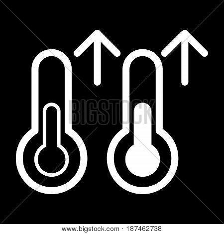 Rise in temperature vector icon. Black and white Thermometer and meteorology illustration. Outline linear icon. eps 10