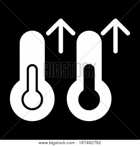Rise in temperature vector icon. Black and white Thermometer and meteorology illustration. Solid linear icon. eps 10
