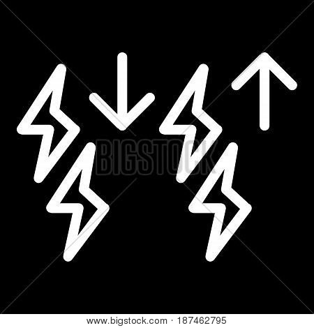 Storm intensification vector icon. Black and white lightning illustration. Outline linear icon. eps 10