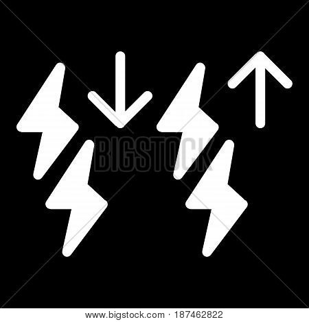 Storm intensification vector icon. Black and white lightning illustration. Solid linear icon. eps 10