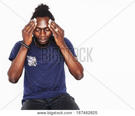 young handsome afro american boy stylish hipster gesturing emotional isolated on white background smiling, people lifestyle concept copyspace