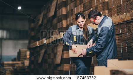 box making at a paper factory storage