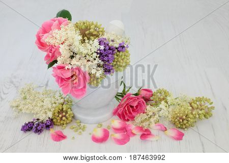 Rose, elderflower and lavender flowers with angelica seed heads used in natural alternative herbal medicine with mortar and pestle over distressed white wood background.