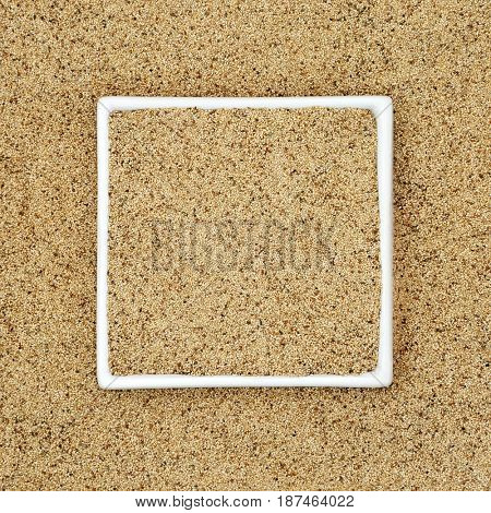 Teff grain health and superfood in a square porcelain dish forming a background.