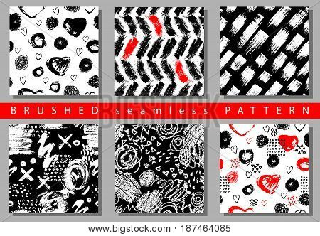 Vector Set of seamless pattern with brush stripes and strokes. Black red color on white background. Hand painted grange texture. Ink geometric elements. Fashion modern style. Endless fabric retro print.