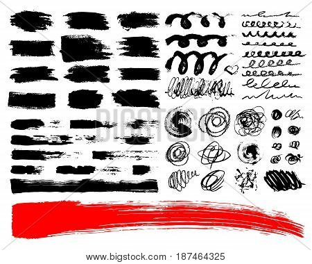 Vector Set of brush acrylic strokes. Black red color on white background. Hand painted grange elements. Ink drawing. Dirty artistic design . Place for text, quote, information, company name