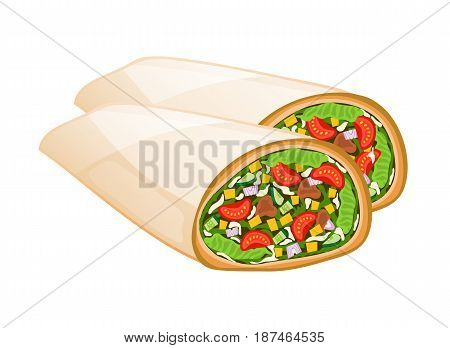 Mexican burrito vector illustration isolated on white background. Cafe or restaurant fast food snack, eating menu element.