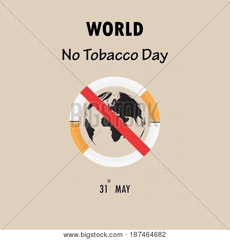 World map icon and Quit Tobacco sign.May 31st World no tobacco day.No Smoking Day Awareness.Vector illustration.