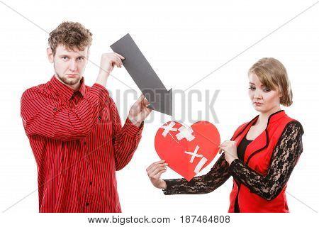 Couple Holding Love Symbols.
