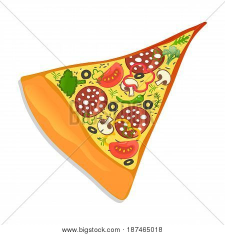 Pepperoni pizza slice vector illustration isolated on white background. Cafe or restaurant fast food, italian snack, top view eating menu pictogram.
