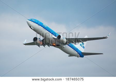 BUDAPEST, HUNGARY - MAY 02: KLM airliner taking off at Budapest (LHBP), May 2th 2014. KLM Royal Dutch Airlines is the flag carrier airline of the Netherlands