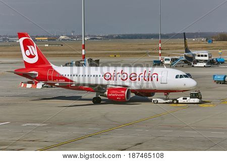 BUDAPEST, HUNGARY - MARCH 22, 2017: Airliner of Air Berlin arriving at Budapest Liszt Ferenc Airport. is Germany's second largest airline.