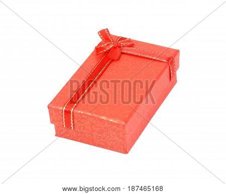 red gift box with ribbon and bow. Vector illustrationImage