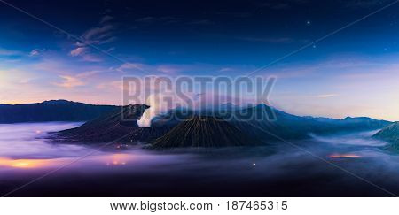 landscape Mount Bromo volcano (Gunung Bromo) during sunrise from viewpoint on Mount Penanjakan twilight. landscape Mount Bromo located in Bromo Tengger Semeru National Park East Java Indonesia twilight. bromo landscape. beautiful landscape. twilight bromo