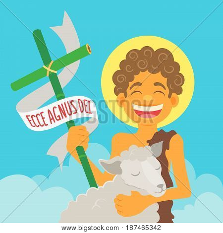 Saint John Baptist, honored in brazilian june parties - Flat vector cartoon for june party or religious themes