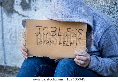 Jobless Man Begging On A Street