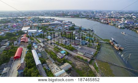 aerial view of tha chin river in mahachai samtuhsakorn outskirt of bangkok thailand capital