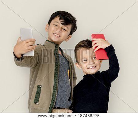 Boy Children Using Mobile Taking Selfie
