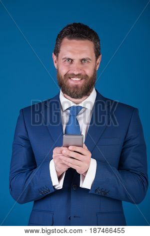 Mobile Or Cell Phone In Hand Of Businessman Or Man