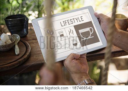 Coffee shop illustration advertisement on digital tablet