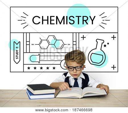 Little kid with illustration of science chemistry experiment study