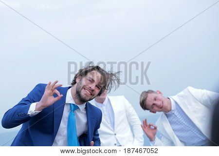 Man And Twins Guys In Outfit, Agile Business, Success