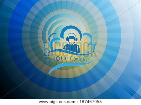 blue background design in the shape of a sun with rays with computer cloud