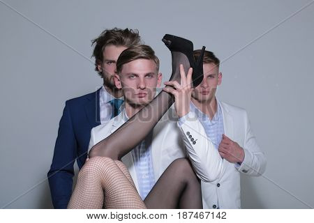 People, Men In Jacket And Female Sexy Legs