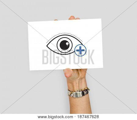Hand holding billboard network graphic overlay
