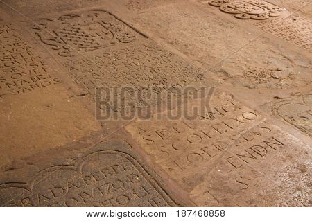 Goa, India - March 5: Stone Plate With Inscription In Church Of St. Francis Of Assisi On March 5, 20