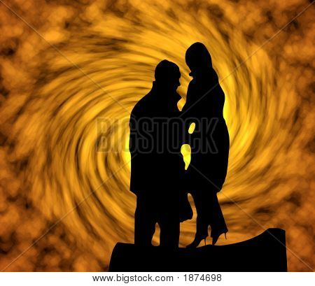 Silhouette On A Fiery Background