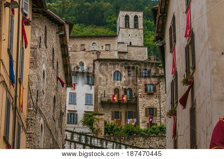 Medieval city of Gubbio dressed to feast