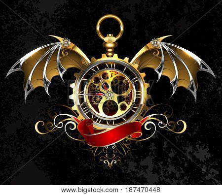Gold, antique watches with mechanical, gold dragon wings, decorated with a bronze pattern and a red ribbon. Gold Antique Watches. Steampunk style.