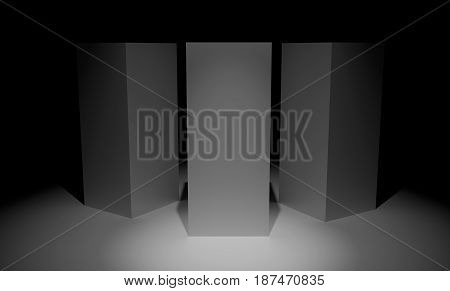 Three abstract 3d cubes over dark background. 3D rendering.