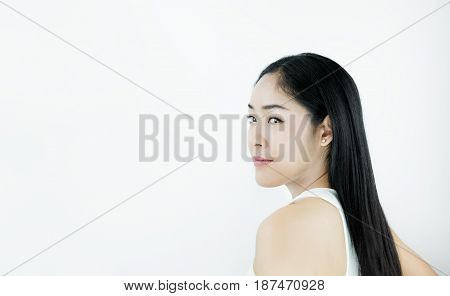 Smiling Beautiful Asian Woman with Black Hair, on white background