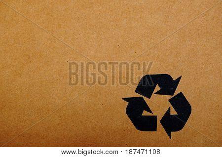 black recycle symbol print on carton box