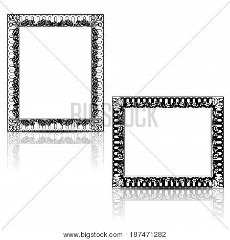 silhouette carved frame for picture or photo with shadow on white background