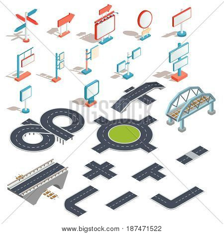 Set of vector isometric illustrations, icons of billboards, advertising banners, road signs, direction signs with different road sections