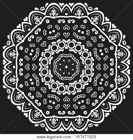 Oriental vector pattern with arabesques and floral elements. Traditional classic round black and white ornament. Vintage pattern with arabesques