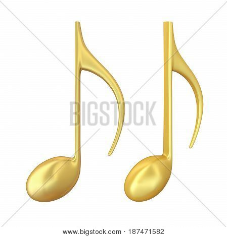 Music Note isolated on white background. 3D render