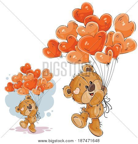Vector illustration of a brown teddy bear holding in its paw a red balloons in the shape of a heart. Print, template, design element