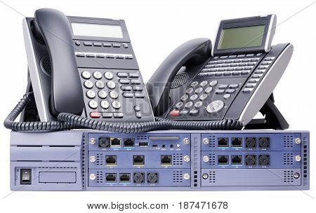 Phone switch system and two digital telephone sets isolated on the white background