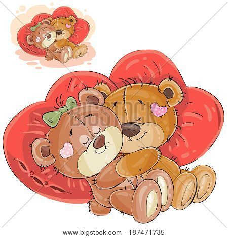 Vector illustration of a couple of brown teddy bears lying embracing on red heart shaped pillows. Print, template, design element