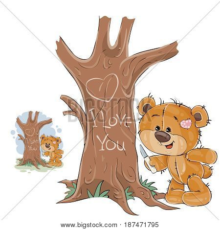 Vector illustration of a loving brown teddy bear carved on a tree trunk a heart and an inscription I Love You. Print, template, design element