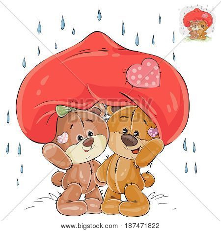 Vector illustration of a couple of enamored brown teddy bears hid from the rain under a big red heart, a metaphor. Print, template, design element