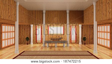 3d interior room of samurai style include japanese katana sword on the marble table with label on the plank wall.